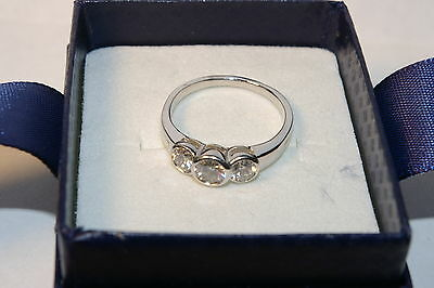0.80CT diamond 14K solid white gold with 3 diamonds engagement ring #7