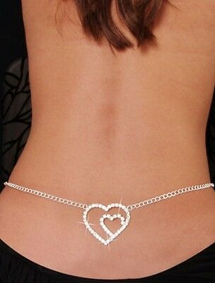 Stunning Diamante Rhinestone Heart Belly Chain/ Lower Back Chain Crystals