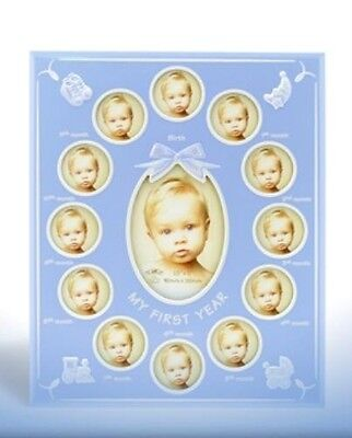 My First Year Photo Frame (Blue) Baby or Christening Gift Idea  NEW  18173