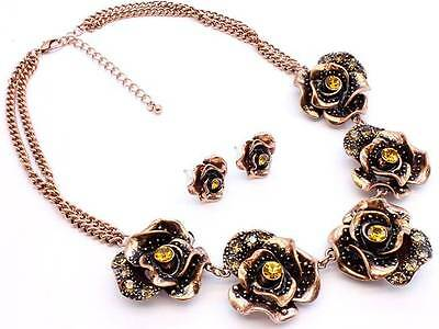 Victorian Style Antique Look Copper Five Flowers Topaz Crystal Necklace Earring