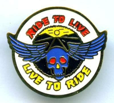 Live to ride Anstecker Pin  Biker Skull & Wings