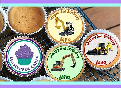 24 Personalised Edible Digger Rice Paper Cup Cake Toppers