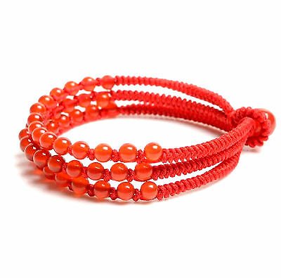 Feng Shui  Handmade red agate beads with red string bracelet amulet good luck