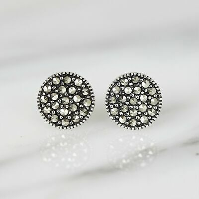 Sterling Silver 925 Marcasite Vintage Style 10mm Round Stud Earrings RRP $50