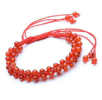 Feng Shui  Handmade red agate beads red string bracelet amulet for good luck