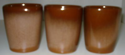 Vintage FRANKOMA 5LC Brown  6 oz Juice Tumbler Cups~Plainsman Dinnerware (3)