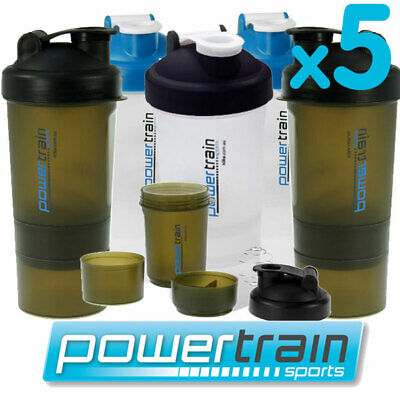 5x PROTEIN SUPPLEMENT DRINK BOTTLE SPORTS MIXER SHAKER BALL CUP SMARTSHAKE