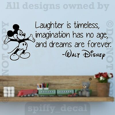 Disney Mickey Laughter Imagination Dreams Forever Wall Quote Vinyl Wall Decal