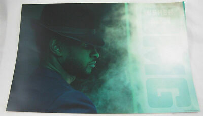 "Usher w chapeau OMG 2010 Official Tour Mini Poster 12"" X 18"" Green NWOT"