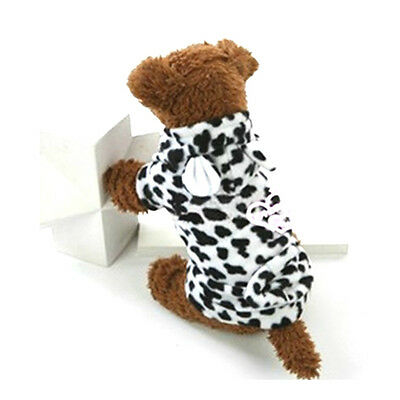Sz XS-XL Cow Ear Hoody Pet Dogs Fleece Pullover Winter Clothes Coat Warm Costume