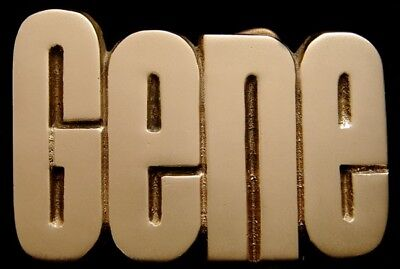 Mh14174 *nos* Vintage 1978 Cut-Out Name ***gene*** Solid Brass Buckle