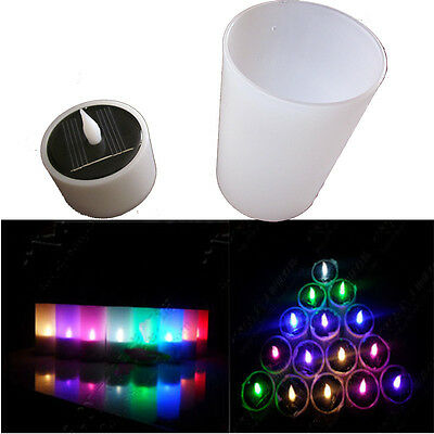 New Solar powered LED Light Candle Lamp Nightlight 7 Colors with holder energy