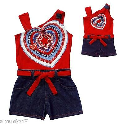 Dollie & Me Girls & Dolls Romper Size 4 5 Heart American Colors Red White Blue