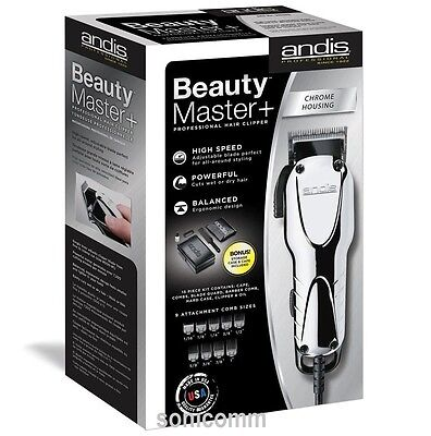 ANDIS BEAUTY MASTER PLUS CLIPPER #66360 CHROME PROFESSIONAL HAIR +9 ATTACH COMBS