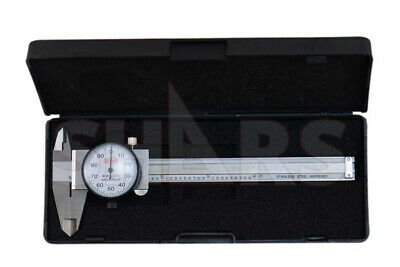 """SHARS 4"""" DIAL CALIPER SHOCK PROOF .001"""" STAINLESS 4 WAY + Inspection Report NEW"""
