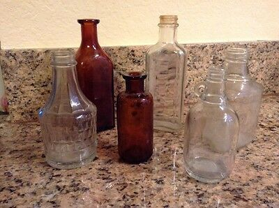 Lot Of 6 Vintage/Antique Small Bottles - Brown And Clear