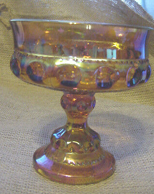 INDIANA CARNIVAL GLASS INCANDESCENT MARIGOLD CANDY DISH  KING CROWN THUMB vtm