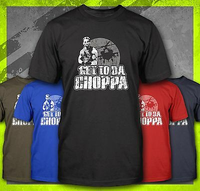 Get To The Choppa Predator Arnold Muscle Funny Retro 80's Military T-Shirt Tee