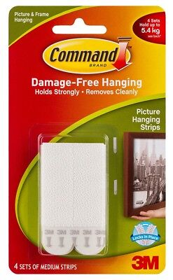 3M COMMAND MEDIUM PICTURE & FRAME HANGING STRIPS 17201 HOLDS 5.4Kg RENT SAFE 4Pk