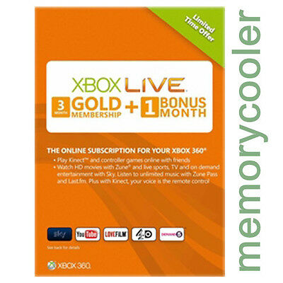 Xbox One 360 LIVE GOLD Mitgliedschaft 3 + 1 Monate 4 Month Code Membership Card