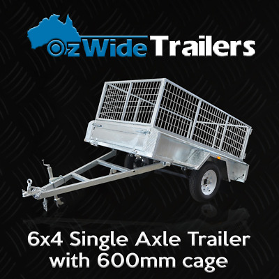 6 x 4 BOX TRAILER BRAND NEW GALVANISED WITH CAGE + TIPPER - FULLY WELDED