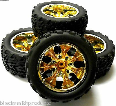 A890002 1/10 Scale Off Road Monster Truck RC Wheels and Tyres Yellow 6 Spoke x 4