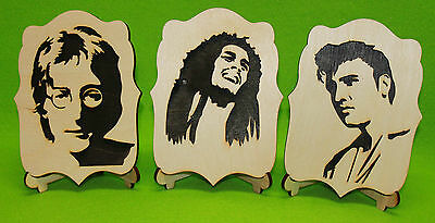 Black & White Art Wood Pictures Elvis Presley John Lennon Bob Marley OnePortrait