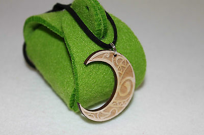 """Celtic Moon Jewelry With 20"""" Leather Necklace Gift Felt Jewellery Box Free"""
