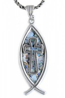 Beautiful 925 Sterling Silver Ancient Roman Glass Pendant Fish Cross