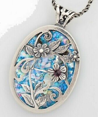 Necklace - 925 Sterling Silver Ancient Roman Glass Original Gift