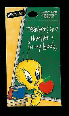 Looney Tunes Tweety Teacher Pin Notes  Warner Brothers new on cards LOOK