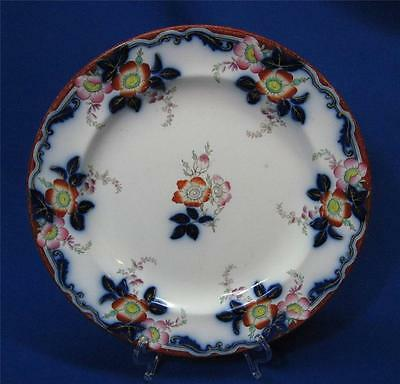 FLOW BLUE & CHINESE RED LARGE DINNER PLATE CIRCA 1830