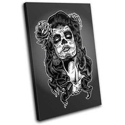 Vintage Lady Zombie Illustration SINGLE CANVAS WALL ART Picture Print VA