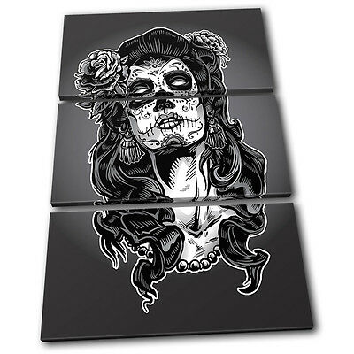 Vintage Lady Zombie Illustration TREBLE CANVAS WALL ART Picture Print VA