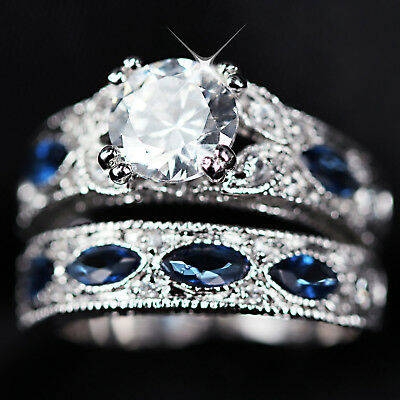 9K White Gold Gf Simulant Diamond Sapphire Eternity Bridal Lady Wedding Ring Set