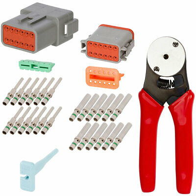 Deutsch DT 6 Way Connector Crimp Tool 20-12 AWG with 12 Pin  Gray Connector Kit