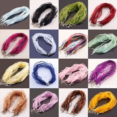 10Pcs Organza Voile String ribbon Cord Necklace Lobster Clasp Chain 18''