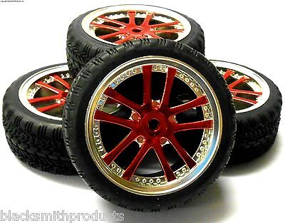 A250090 1/10 Scale On Road Soft Road Tread Car Wheels and Tyres 10 Spoke Red 4