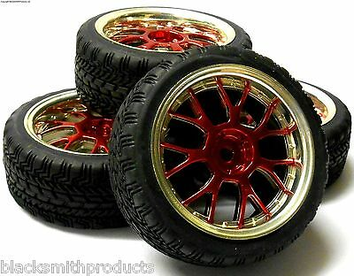 A250101 1/10 Scale On Road Soft Road Tread Car Wheels and Tyre Honeycomb Red 4