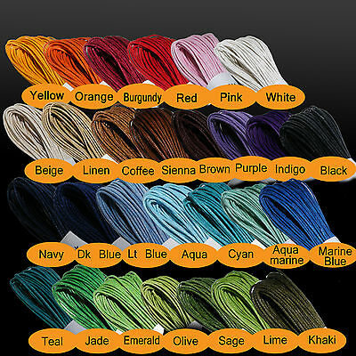 Waxed Cotton Cord 1mm > 26 Colours > From Only 42p . ** BUY MORE >> SAVE MORE **