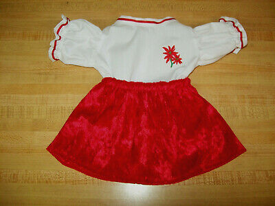 "GOLD TRIMMED CHRISTMAS BALLS RED PANNE VELVET DRESS for 16/"" CPK Cabbage Patch K"