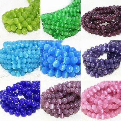 Wholesale(10Color)  50/200Pc Round Cat's Eye Opal Loose Beads 4/6/8/10mm Gemstoe