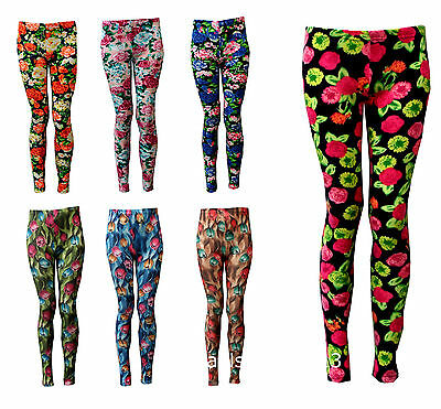 Leggings New Girls Floral Flower Print Age 3 4 5 6 7 8 9 10 11 12 years Cotton