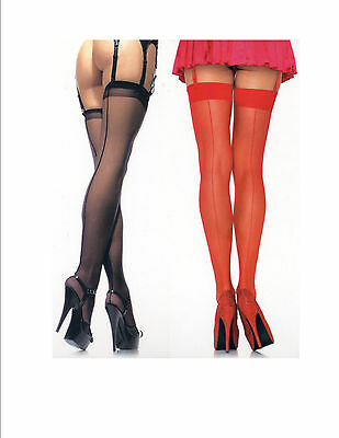 Leg Avenue 1000 Stockings Sheer Retro Seamed Need Garters One Size Red or Black