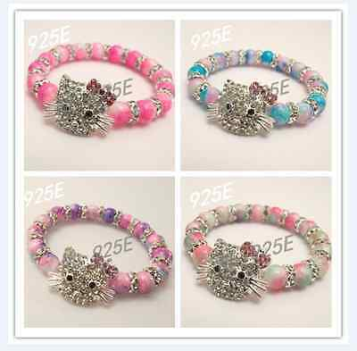 8MM TWO TONE GLAS BEADS STRETCHED BRACELETS For Little Girls - TOP QUALITY