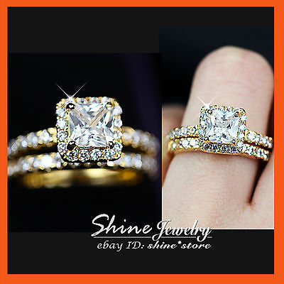 24K Yellow Gold Gf R270 Square Engagement Wedding Diamonds Creat Solid Ring Set