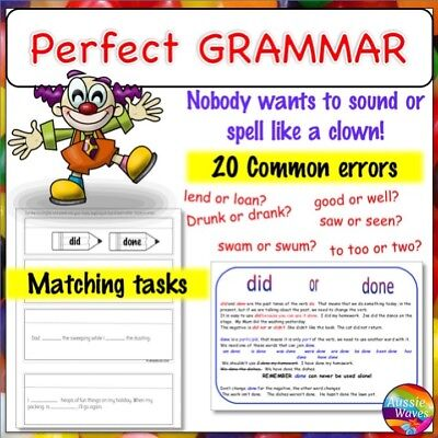 Educational Teaching English Resource 20 Grammar Print Posters and Activities