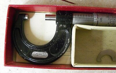 "Millers Falls Outside Micrometer No. 701   0 - 1"" Original Red Box  USA"
