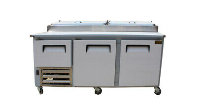 "84"" New US-Made Two half (2) Door Refrigerated Pizza Salad Prep Table Restaurant"