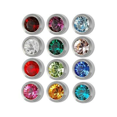 Ear Piercing Earring Studs 4mm Assorted Colors White Surgical Steel 12 Pairs